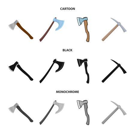 Vector illustration of ax and hammer logo. Collection of ax and chopping stock vector illustration.