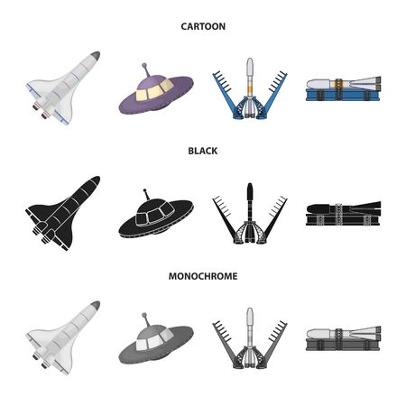 Ilustración de vector de nave espacial y logotipo de la nave. Conjunto de icono de vector de nave espacial y estación para stock.