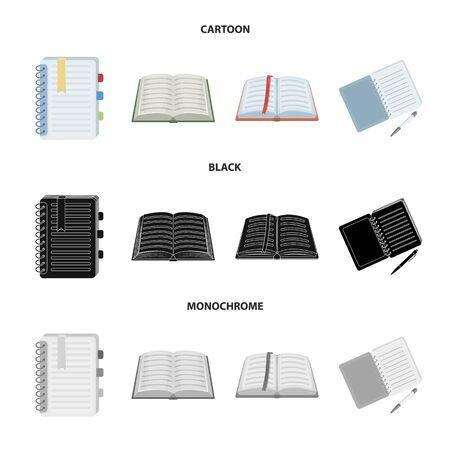 Isolated object of book and open icon. Set of book and pencil vector icon for stock.