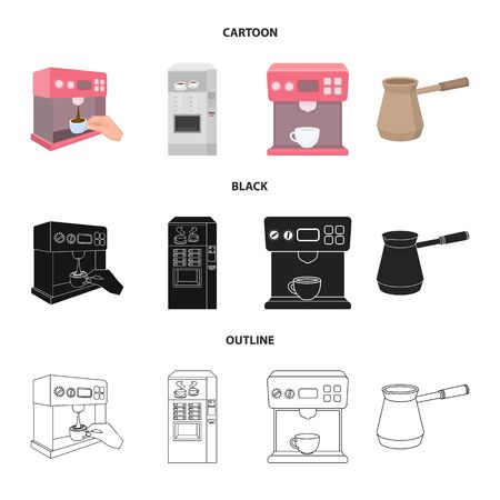 Isolated object of coffee and machine sign. Collection of coffee and kitchen vector icon for stock. Banco de Imagens - 124993202