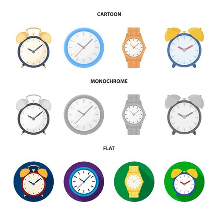 Vector illustration of time and hour logo. Set of time and business stock symbol for web. Иллюстрация