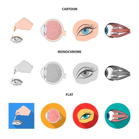 Vector design of medical and eyeball logo. Collection of medical and optical stock vector illustration.