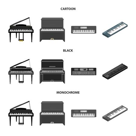 Vector design of music and piano icon. Set of music and song vector icon for stock.