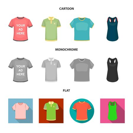 Vector design of clothes and wear icon. Collection of clothes and short stock symbol for web. Ilustração