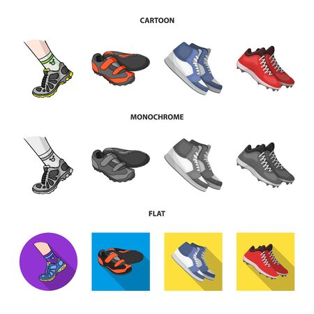 Vector illustration of shoe and sport sign. Collection of shoe and fitness vector icon for stock. Ilustrace