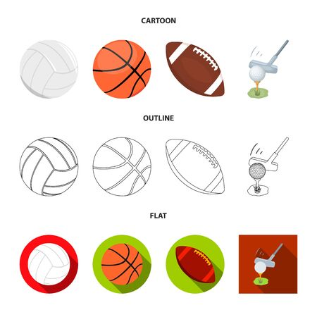 Isolated object of ball and soccer symbol. Collection of ball and basketball stock vector illustration.