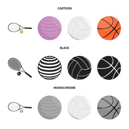 Isolated object of ball and soccer icon. Set of ball and basketball vector icon for stock.