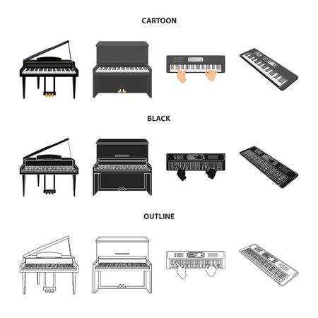 Vector illustration of music and piano icon. Collection of music and song vector icon for stock.