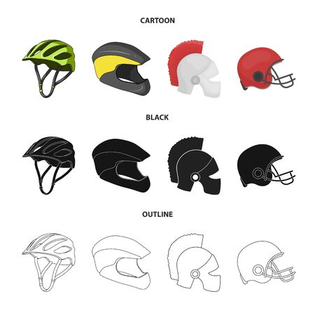 Vector illustration of helmet and sport logo. Set of helmet and moto stock symbol for web.