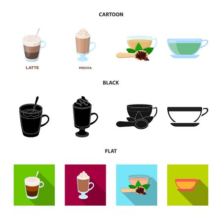 Vector design of cup and coffe sign. Set of cup and top vector icon for stock.