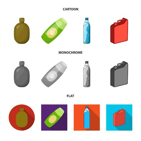 Isolated object of plastic and container icon. Collection of plastic and packaging stock symbol for web.
