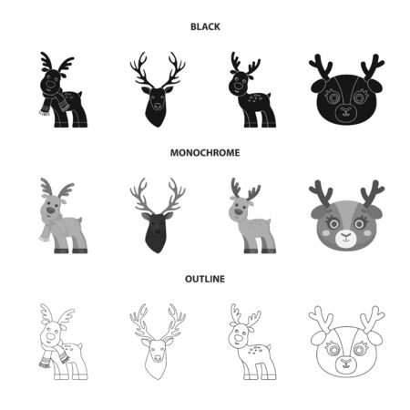 Isolated object of elk and head logo. Collection of elk and stag stock vector illustration.