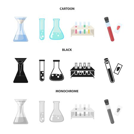Vector design of flask and laboratory icon. Set of flask and equipment stock vector illustration.