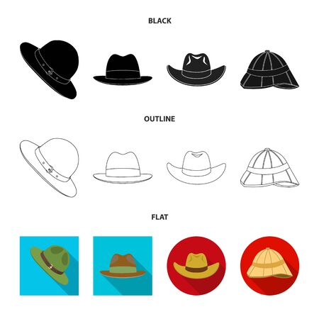 Isolated object of hat and cap sign. Collection of hat and model stock symbol for web.