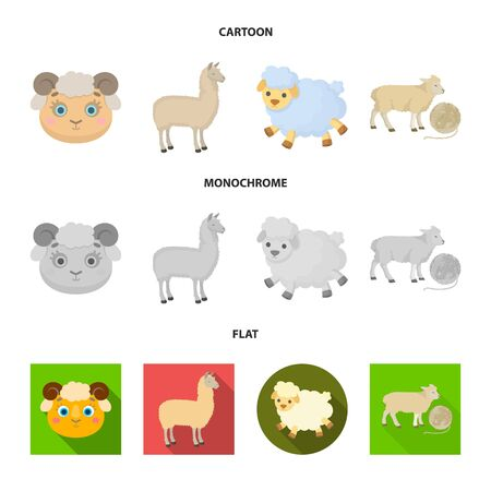 Isolated object of sheep and goat symbol. Set of sheep and happy stock symbol for web.