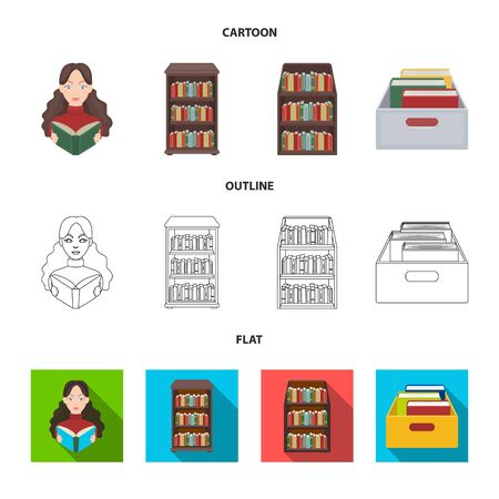 Vector design of library and textbook sign. Set of library and school stock symbol for web. Ilustração