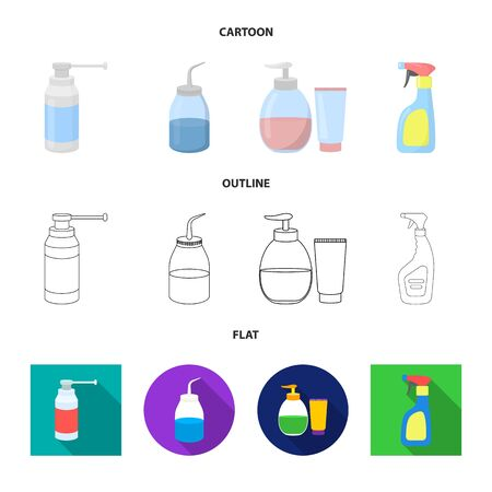 Vector design of sprayer and liquid symbol. Collection of sprayer and pesticide stock vector illustration. Ilustração