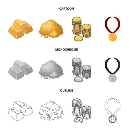 Isolated object of and gold symbol. Set of and golden vector icon for stock.