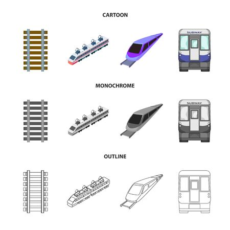 Isolated object of railroad and train icon. Set of railroad and way stock vector illustration.
