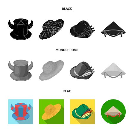Vector design of hat and cap logo. Collection of hat and model vector icon for stock.