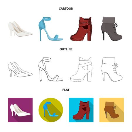 Vector illustration of heel and high sign. Collection of heel and stiletto stock symbol for web.