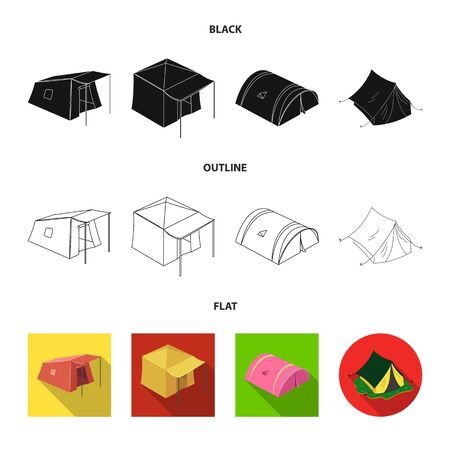 Vector design of tent and camp icon. Collection of tent and forest stock symbol for web.