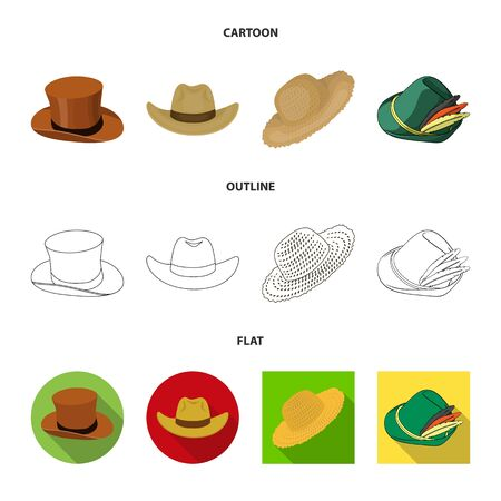 Isolated object of hat and cap icon. Collection of hat and model stock symbol for web. Ilustração