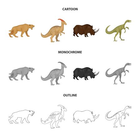 Isolated object of animal and character symbol. Collection of animal and ancient stock vector illustration.