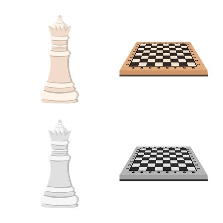 Isolated object of checkmate and thin icon. Collection of checkmate and target vector icon for stock. Standard-Bild - 124979925