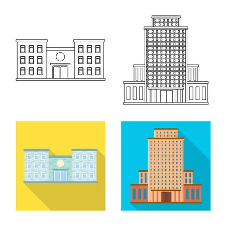 Vector design of municipal and center logo. Set of municipal and estate stock symbol for web.