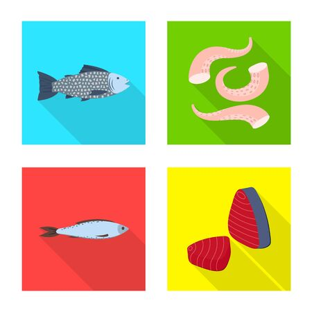 Isolated object of product and ocean icon. Set of product and restaurant stock vector illustration.