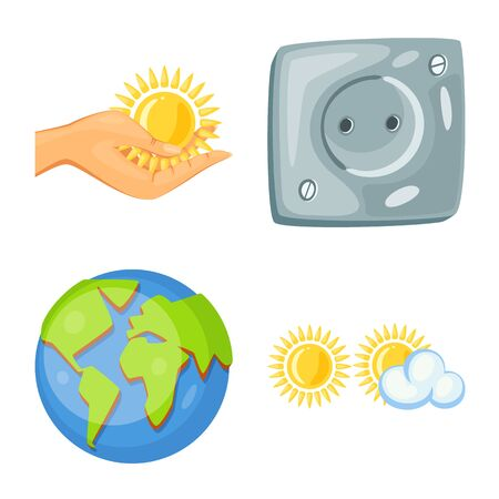 Vector design of and organic icon. Collection of and Solar stock symbol for web.