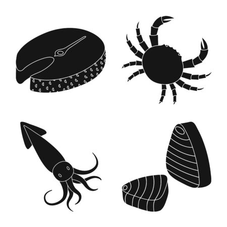 Vector illustration of market and marine symbol. Collection of market and sea stock symbol for web.