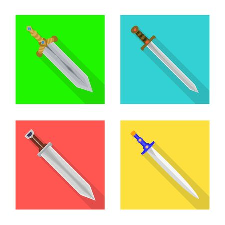 Vector design of and sword sign. Set of and knife vector icon for stock.