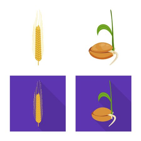 Vector design of agriculture and farming symbol. Set of agriculture and plant stock symbol for web.