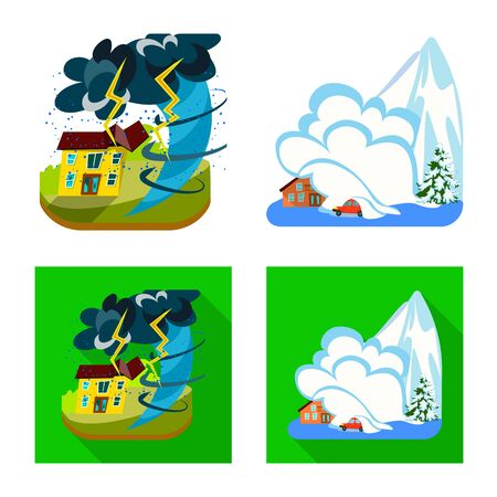 Isolated object of weather and distress sign. Collection of weather and crash vector icon for stock. Ilustrace