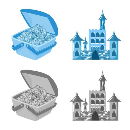 Vector illustration of texture and frozen logo. Set of texture and transparent stock vector illustration. Ilustração