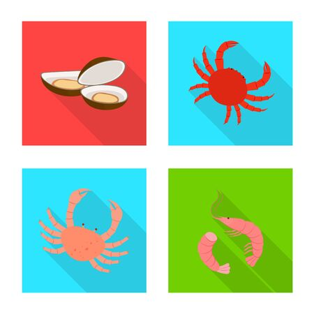 Vector illustration of product and ocean sign. Collection of product and restaurant vector icon for stock.