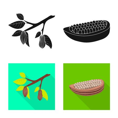Vector design of food and yummy sign. Set of food and brown stock symbol for web. Standard-Bild - 124986073