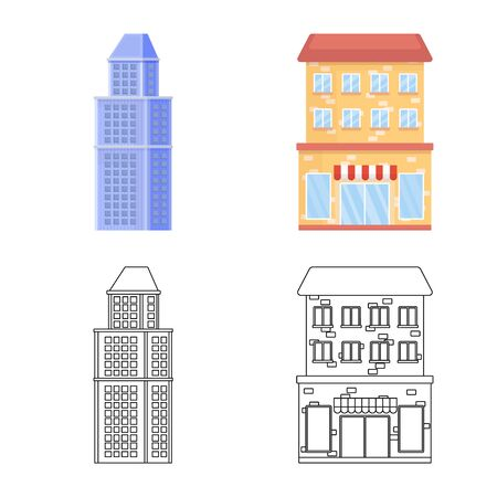 Isolated object of municipal and center symbol. Collection of municipal and estate vector icon for stock.