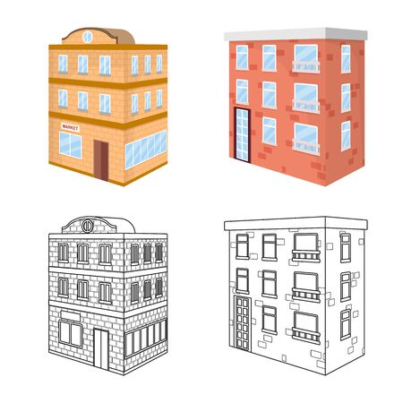 Isolated object of construction and building logo. Set of construction and estate vector icon for stock. Illustration