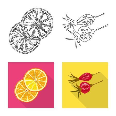 Vector design of food and raw logo. Collection of food and nature stock vector illustration.