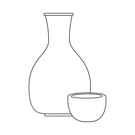 Vector illustration of vodka and rice symbol. Collection of vodka and japan stock symbol for web. Ilustrace