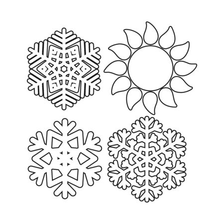 Isolated object of snowflake and falling sign. Set of snowflake and winter vector icon for stock.