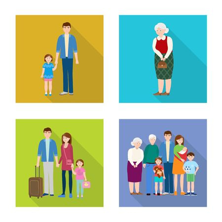 Vector illustration of generation and happy logo. Collection of generation and avatar stock symbol for web. Banque d'images - 125076402