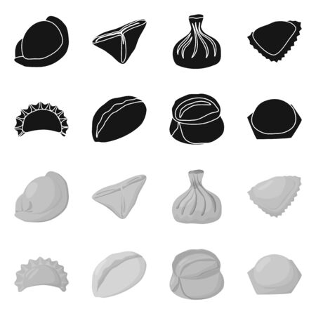 Isolated object of products and cooking symbol. Set of products and appetizer stock symbol for web.