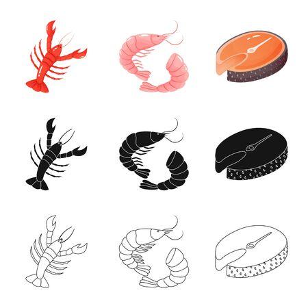 Ilustración de vector de icono fresco y restaurante. Colección de ilustraciones vectoriales frescas y marinas.