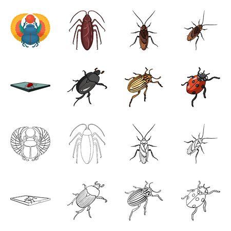 Objeto aislado del logotipo de insectos y escarabajos. Conjunto de símbolo de stock de insectos y halloween para web. Logos