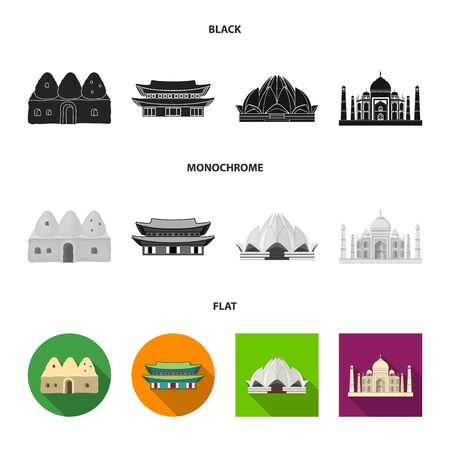 Vector design of town and chinatown symbol. Collection of town and asian stock symbol for web.