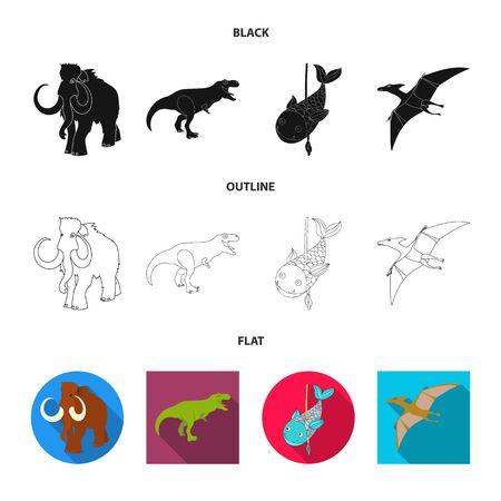 Vector illustration of animal and character sign. Collection of animal and ancient vector icon for stock. Ilustração